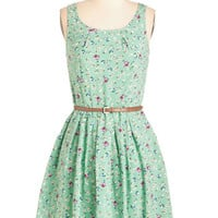 ModCloth Mid-length Sleeveless Fit & Flare Posy Does It Dress