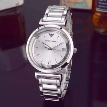 ARMANI Woman Men Fashion Business Watches Wrist Watch- Silver