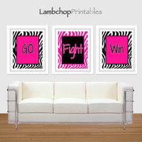 Go Fight Win, Cheer Set, Hot Pink Zebra, Set of 3, Zebra print, 8x10, 16x20, Girls Room, Teen art, Cheer, Cheerleading quote, girl sport