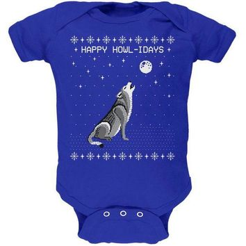 CREYCY8 Happy Howl-idays Holidays Wolf Ugly Christmas Sweater Soft Baby One Piece