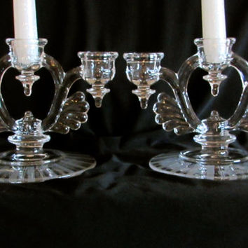 Triple Candle Holder Set, New Martinsville Moondrops Elegant Candlestick Holders,  Wedding Decor, Home Decor, laslovelies
