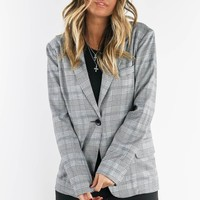 Eyes On Me Black And White Plaid Blazer