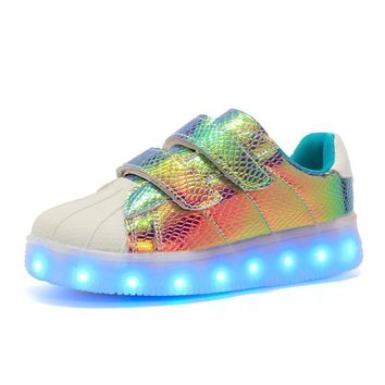 New USB re-charged Led Kids Shoes With Light,boys girls superstar shoes women,Men Fashion Light Up Led Glowing Shoes