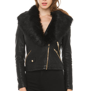 Make Me Plush Moto Jacket - Black