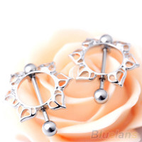 2Pcs Surgical Steel Floral Flowers Circle Piercing Nipple Shield Ring 14G Bar  1S8U
