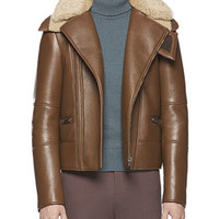 Leather Jacket with Shearling Collar, Brown