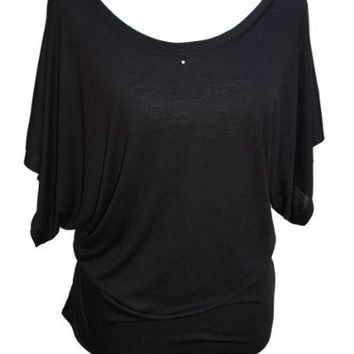 YogaColors Crystal Boatneck Dolman Sleeve Blouse Jersey Tee Up to Plus Size (Small, Black)