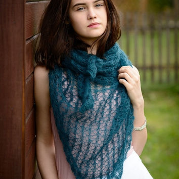 Mohair scarf/  hand knit merino shawl/ petrooil shoulder wrap/ minimalist knitwear/Ready to ship