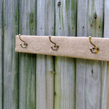 Burlap wrapped Rustic / Primitive wall mount coat rack / coat hook / hat rack with vintage brass hooks on reclaimed pallet wood