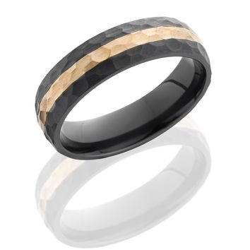 Black Zirconium 7mm Wide Hammered Wedding Band with 14K Rose Gold Inlay