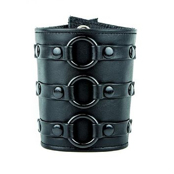 3 Black O-Ring Strap Leather Wristband Armband Gauntlet Heavy Metal Viking