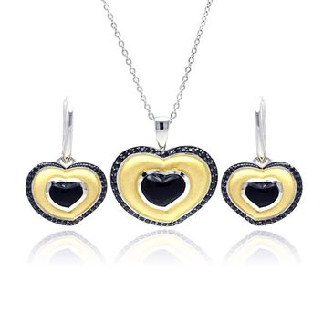 .925 Sterling Silver Rhodium, Black Rhodium, &  Gold Plated Heart Black Cubic Zirconia Stud Earring &  Necklace Set