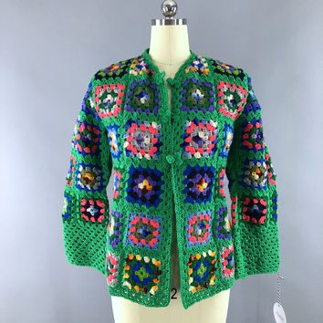 Vintage 1960s Crocheted Cardigan / Green Granny Squares