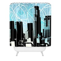 Amy Smith LA skyline blue Shower Curtain