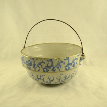 Blue Spongeware Crock Stoneware Bowl w/ Wire Bail Handle - Vintage Antique French Country