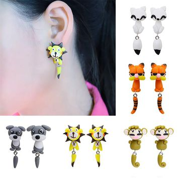 Hot Sale 100% Handmade Polymer Clay Animal Earrings Cute Cat Red Fox Lovely Dog Soldier Mouse Tiger Stud Earrings for Women