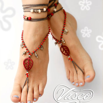 Boho Barefoot Sandal. Turquoise Bellydance Shoes, Gypsy Shoes. Toe Anklet. Hippie Shoes