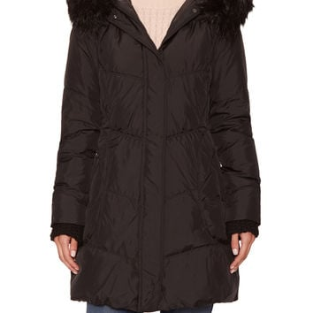 Tahari Outerwear Women's Miami Quilted Hooded Coat with Faux Fur Trim
