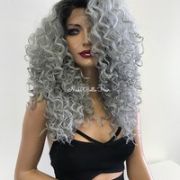 "Water Wave Human Hair Blend Lace Front Wig 14"" 11825"