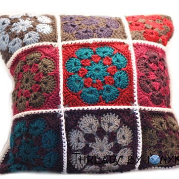MADE TO ORDER - Crochet Handmade Throw Pillow, Granny Squares, Home Decor, Couch Accessories, Decorative Pillow - Holiday Gift