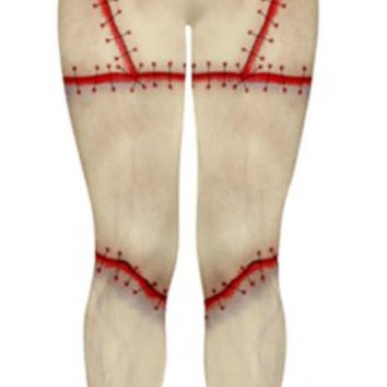 Zombie Stitched leggings, flesh or green