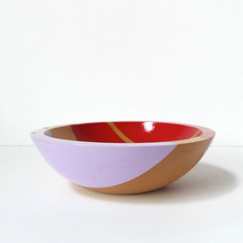 "Modern Colorblock Hardwood 7"" Salad Bowl, Garnet Red/Lavender Purple - READY TO SHIP"
