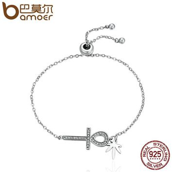 Genuine 925 Sterling Silver Egyptian Ankh Cross, Clear CZ Chain Link Bracelet Luxury Authentic Silver Jewelry SCB008