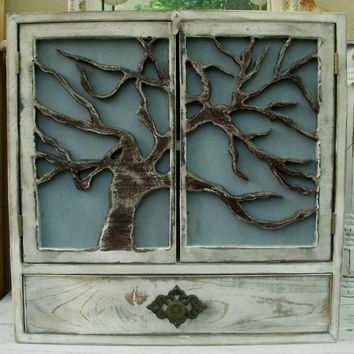 Large Wall Cabinet Shelf  Wood Oak Tree Doors by honeystreasures