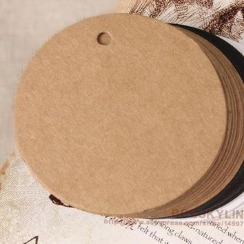 300pcs/lot- Round shaped Blank Kraft Paper Cards with hanging hole DIY Party Decoration Label Price tag