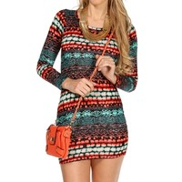 Red/Green/Ivory Enthic Bodycon Dress