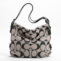 Coach 24cm Signature Duffle Shoulder Bag in Black and White