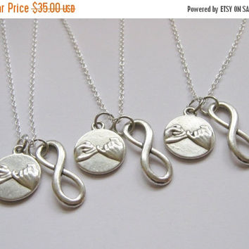 Spring Sale-SAVE 30% 3 Pinky Promise Pinky Swear  Infinity Best Friend Sisters Necklaces BFF