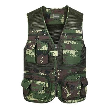 Outdoor Men Quick Dry Camping Hunting Fishing Hiking Vest Sports Green Multi Pockets Tactical Vest Women Mesh Breathable Clothes
