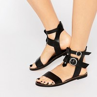 Warehouse Leather Double Buckle Flat Sandal at asos.com