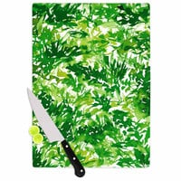 """Ebi Emporium """"In The Meadow 1 - Green White """" Abstract Painting Cutting Board"""