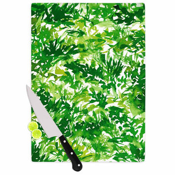 "Ebi Emporium ""In The Meadow 1 - Green White "" Abstract Painting Cutting Board"