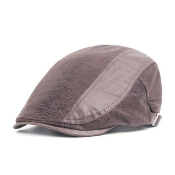 Men Snake Skin Pattern Cotton Beret Cap Buckle Adjustable Cabbie Gentleman Hat