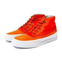 Summer Orange Hi Top Suede Pony Hair Sneaker Boots