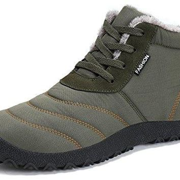Dreamcity Women's Winter Snow Boots Waterproof Insulated Outdoor Shoes(ArmyGreen,8.5)