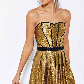Ecote Starlight Strapless Dress- Gold