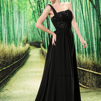 Chiffon One Shoulder Strap Empire Waist A line Formal Evening Gown L-020