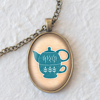 Blue Teapot Necklace, Retro Teapot Pendant, Oval Necklace (1777B)