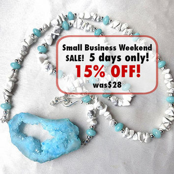 Boho summer sky blue geode necklace with white howlite. Raw crystal druzy LONG jewelry & silver. Beachy, coral-like colors. OOAK Unique!