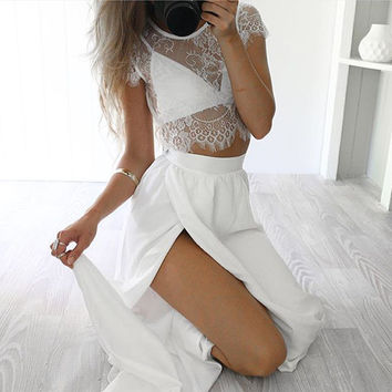 ‰ä?öª‰öªWhite Two Pieces Pink White Maxi Dress Romantic Sexy Summer Lace Trendy Maxi Skirt ‰öª‰öª‰ä»