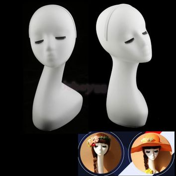 Long Neck Female Mannequin Head Bust Wigs Hat Cap Necklace Showcase Display Holder Stand Manikin Model White