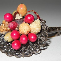 Antique Painted Celluloid Fruit Basket Pin Brooch Silver Filigree Brass Clasp