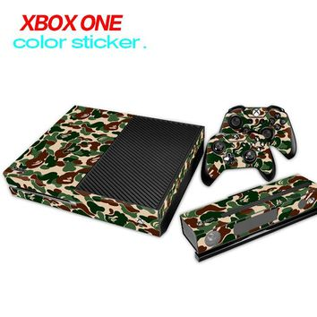 Hot !! Game accessories Skin Sticker for Microsoft Xbox One Console and 2 Controllers & Kinect skins Stickers for XBOXONE