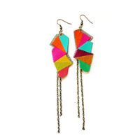 Geometric Leather Earrings Triangle by BooandBooFactory on Etsy