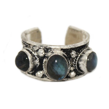 Multi stone Labradorite Ring, Adjustable Ring, yoga ring