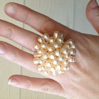 Teardrop shaped faux pearl cocktail ring created from up-cycled vintage clip on earring